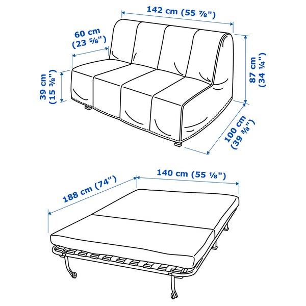 LYCKSELE LÖVÅS ЛЮККСЕЛЕ ЛЕВОС 2-місний диван-ліжко, РАНСТА натуральний