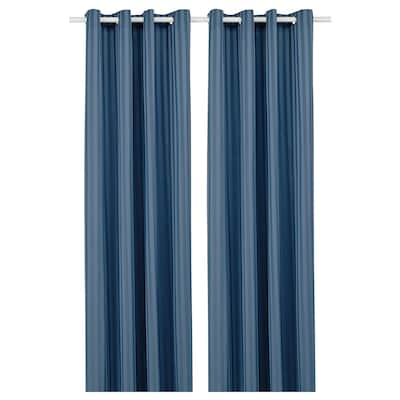 MAJRID МАЙРІД Світлонепроникні штори, пара, синій, 145x300 см