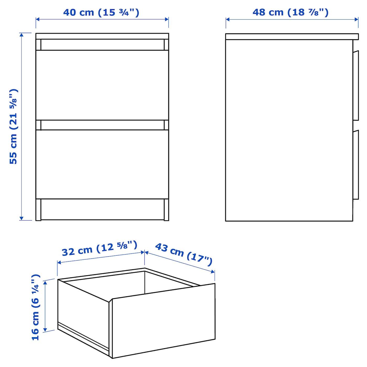 MALM МАЛЬМ Комод із 2 шухлядами - білий 40x55 см