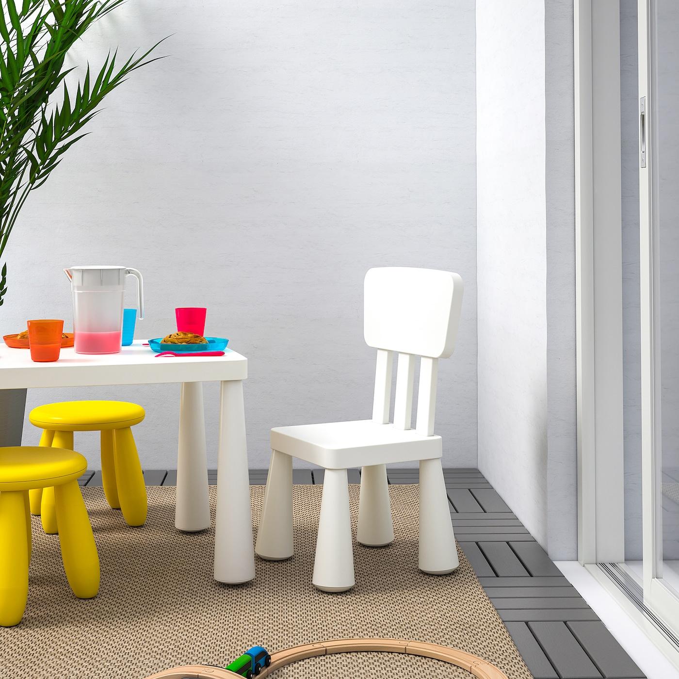 МАММУТ дитячий стілець для приміщення/вулиці/білий 39 см 36 см 67 см 26 см 30 см