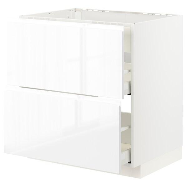 METOD МЕТОД / MAXIMERA МАКСІМЕРА Підлог шафа д/плит/вб витяжк з шухл, білий/ВОКСТОРП глянцевий/білий, 80x60 см