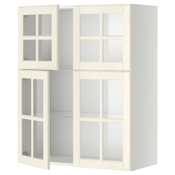 МЕТОД настінна шафа, полиці/4 склян дверц білий/БУДБІН кремово-білий 80.0 см 38.9 см 100.0 см