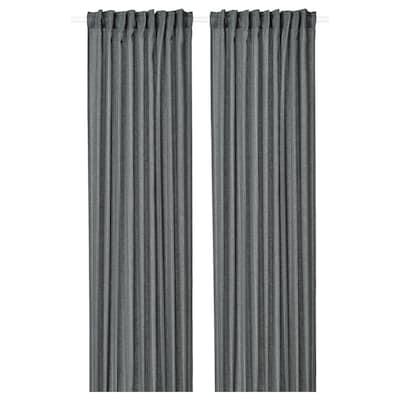 MILDRUN МІЛЬДРУН Штори, 1 пара, темно-сірий/смугастий, 145x300 см