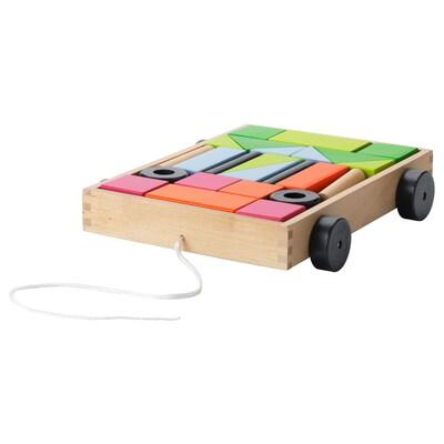 МУЛА набір кубиків із візком 24 предмети 33 см 27 см 6 см