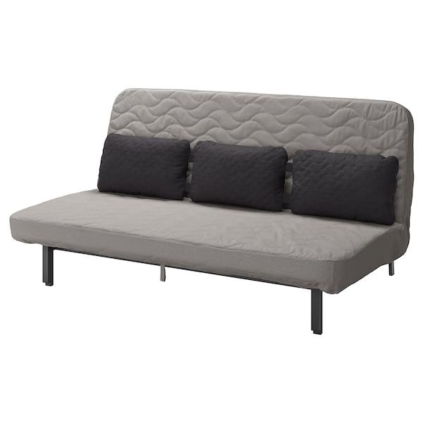 NYHAMN НІХАМН Диван-ліжко з потрійною подушкою, з пінополіуретановим матрацом/КНІСА сірий/бежевий