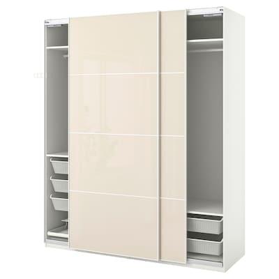 ПАКС / ХОККСУНД гардероб, комбінація білий/глянцевий світло-бежевий 200.0 см 66.0 см 236.4 см