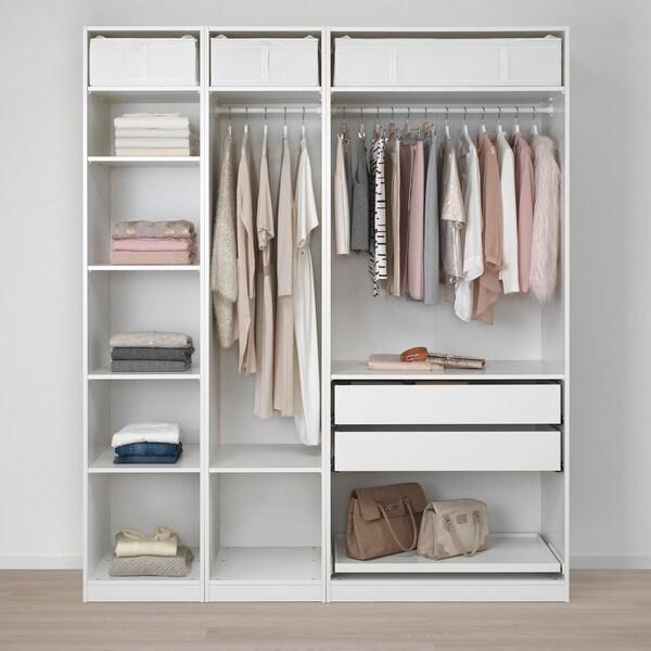 ПАКС гардероб білий/ФЛІСБЕРГЕТ світло-бежевий 200 см 60 см 236.4 см 236 см
