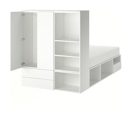 ПЛАТСА каркас ліжка 2 дверцят + 3 шухляди білий/ФОННЕС 40 см 243.9 см 141.6 см 43 см 162.6 см 200 см 140 см