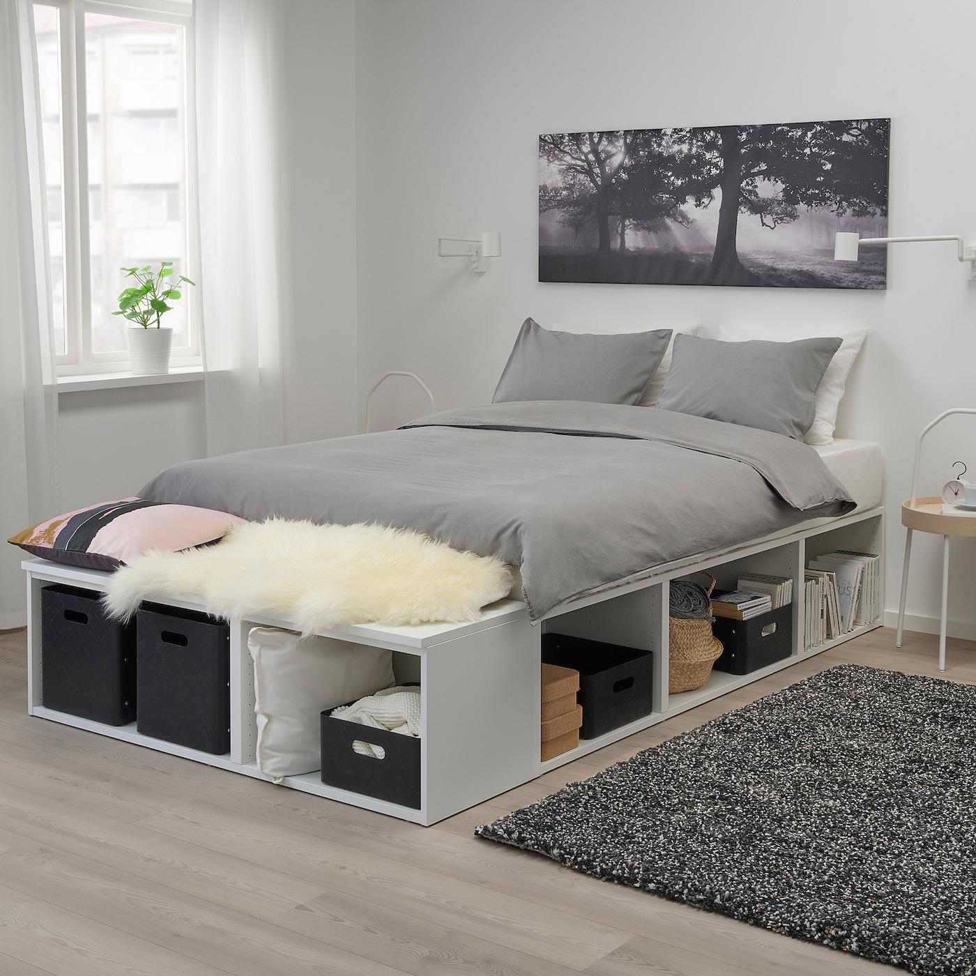 ПЛАТСА каркас ліжка з відділ д/зберігання білий 40 см 244 см 140 см 43 см 200 см 140 см