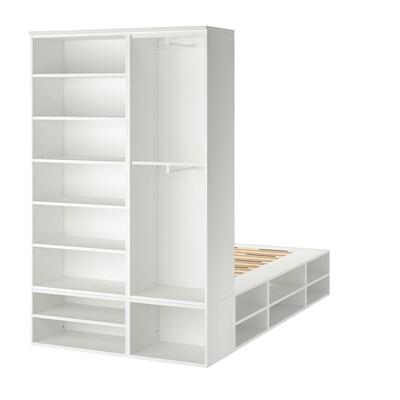 PLATSA ПЛАТСА Каркас ліжка з відділ д/зберігання, білий, 140x244x223 см