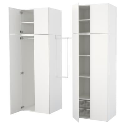 ПЛАТСА гардероб білий/ФОННЕС білий 160 см 195 см 220 см 57 см 241 см