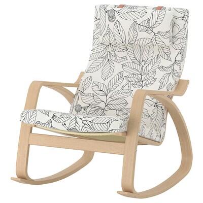 ПОЕНГ крісло-гойдалка білений дубовий шпон/ВІСЛАНДА чорний/білий 68 см 94 см 95 см 56 см 50 см 45 см