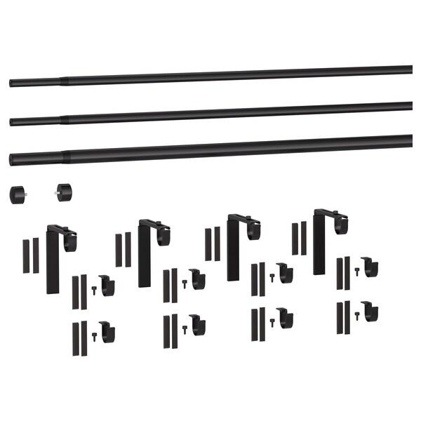 RÄCKA РЕККА / HUGAD ХУГАД Комбінація потрійних карнизів, чорний, 210-385 см