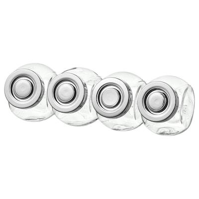 РАЙТАН банка для спецій скло/колір алюмінію 8 см 15 сл 4 штук