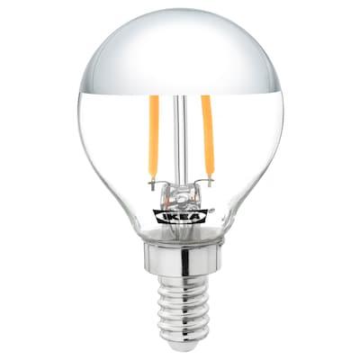 SILLBO СІЛЛЬБУ LED лампа E14 140 лм, кругла/дзеркальний верх срібний, 45 мм