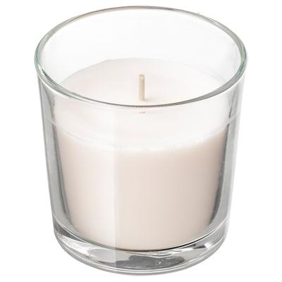 SINNLIG СІНЛІГ Свічка ароматична у склянці, Солодка ваніль/натуральний, 7.5 см