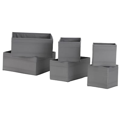 SKUBB СКУББ Коробка, набір із 6 шт., темно-сірий