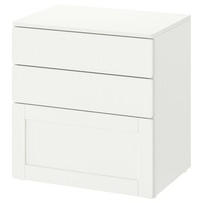 SMÅSTAD СМОСТАД / PLATSA ПЛАТСА Комод із 3 шухлядами, білий білий/з каркасом, 60x42x63 см