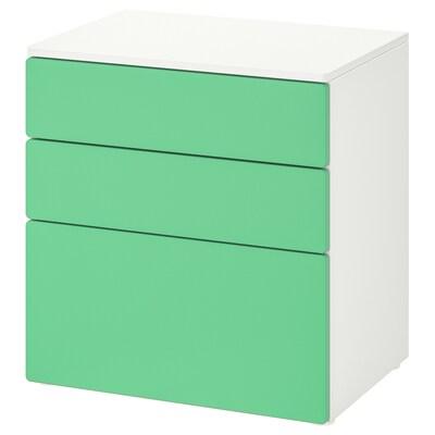SMÅSTAD СМОСТАД / PLATSA ПЛАТСА Комод із 3 шухлядами, білий/зелений, 60x42x63 см