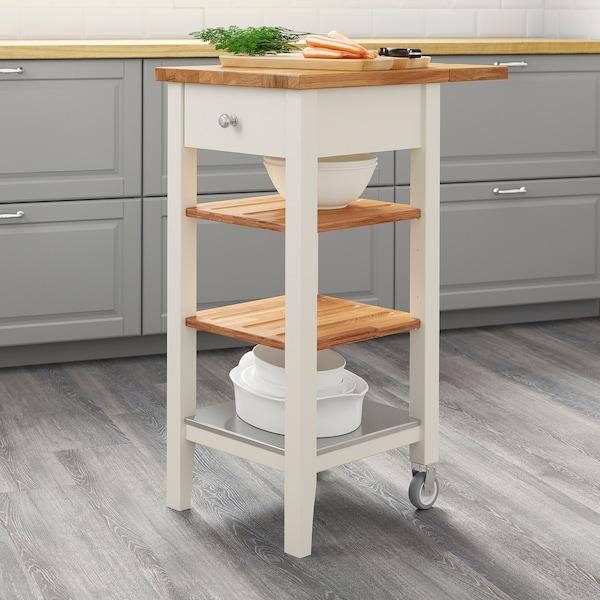STENSTORP СТЕНСТОРП Стіл-візок кухонний на коліщатах, білий/дуб, 45x43x90 см