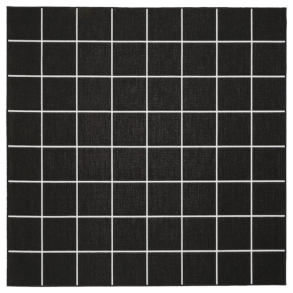 SVALLERUP СВАЛЛЕРУП Килим, пласке плетіння, приміщ/вул, чорний/білий, 200x200 см