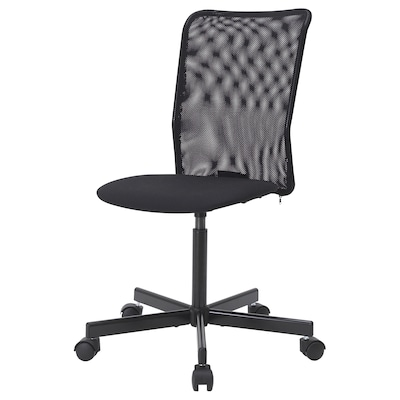 ТОБЕРГЕТ стілець обертовий ВІССЛЕ чорний 110 кг 60 см 98.5 см 40 см 39 см 43.5 см 54.5 см