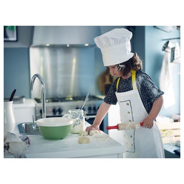 TOPPKLOCKA ТОППКЛОККА Дитячий фартух і капелюх шеф-кухаря, білий/жовтий