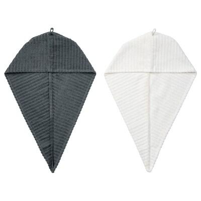 ТРЕТТЕН рушник для волосся темно-сірий/білий 720 мм 265 мм 2 штук