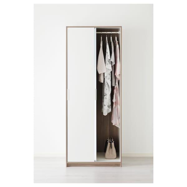 ТРІСІЛ гардероб білий/дзеркальне скло 79 см 61 см 202 см 5.7 см 20 кг