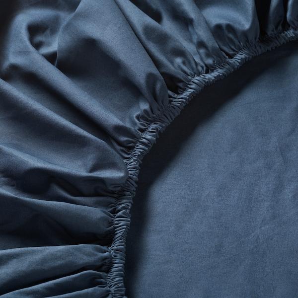 ULLVIDE УЛЛЬВІДЕ Простирадло на резинці, темно-синій, 90x200 см