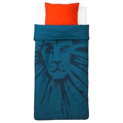 УРСКОГ Підковдра+1 наволочка, лев/темно-синій, 150x200/50x60 см