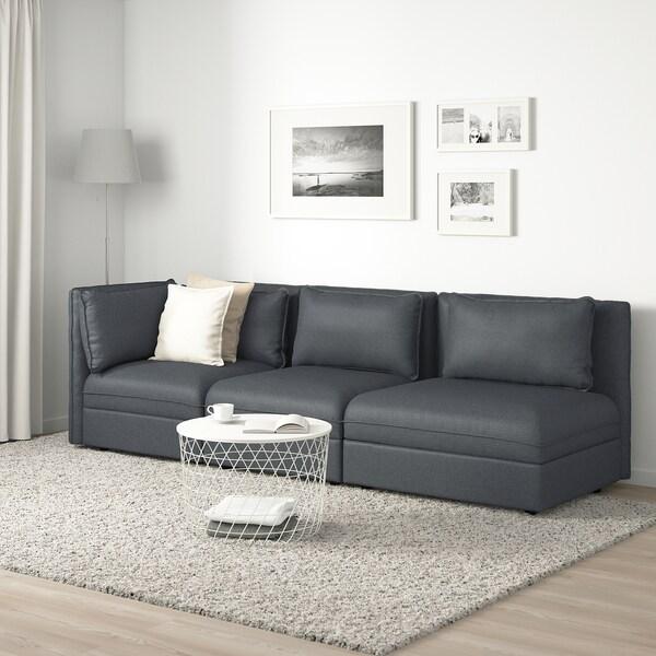 ВАЛЛЕНТУНА 3-місний модульний диван з вікритою секцією відділення д/зберігання/ХІЛЛАРЕД темно-сірий 273 см 93 см 84 см 45 см