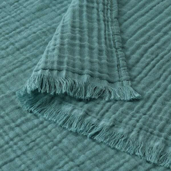 VALLKRASSING ВАЛЛЬКРАССІНГ Плед, сіро-бірюзовий, 150x200 см