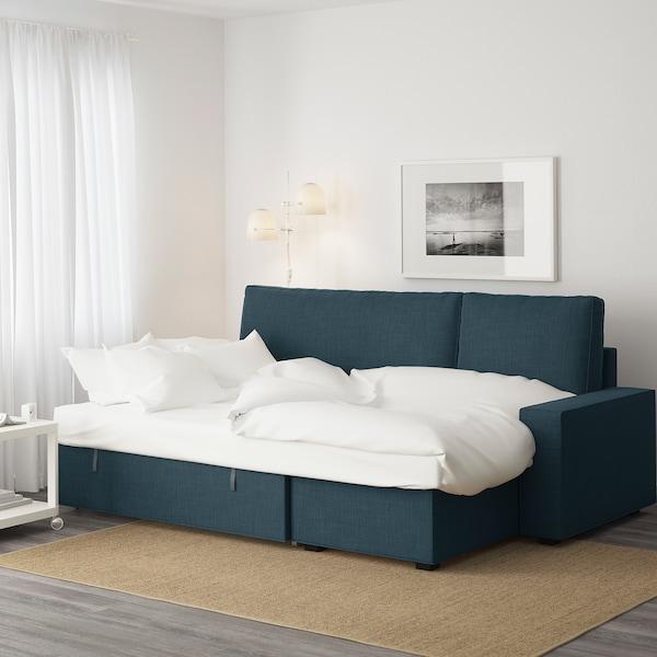 VILASUND ВІЛАСУНД Диван-ліжко з кушеткою, ХІЛЛАРЕД темно-синій