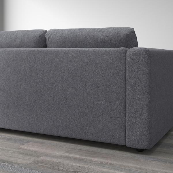 ВІМЛЕ кутовий диван, 3-місний з вікритою секцією/ГУННАРЕД класичний сірий 83 см 68 см 98 см 235 см 195 см 122 см 179 см 6 см 15 см 68 см 55 см 48 см