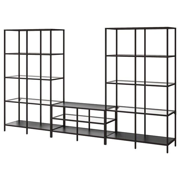 ВІТТШЕ комбінація шаф для телевізора чорно-коричневий/скло 300 см 36 см 175 см