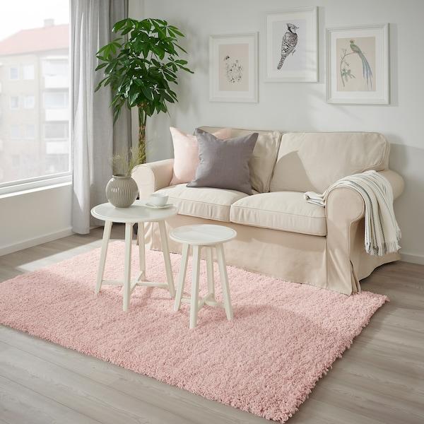 VOLLERSLEV Килим, довгий ворс, блідо-рожевий, 133x195 см