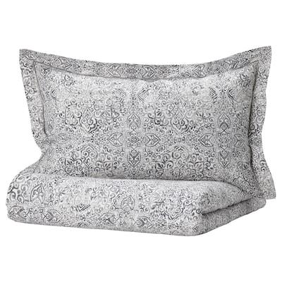 ÄNGSKLOCKA Duvet cover and pillowcase(s), white/gray, King