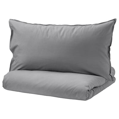 "ÄNGSLILJA duvet cover and pillowcase(s) gray 125 /inch² 1 pack 86 "" 64 "" 20 "" 30 """