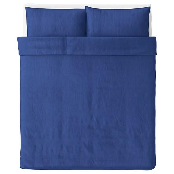 ÄNGSLILJA Duvet cover and pillowcase(s), dark blue, Full/Queen (Double/Queen)