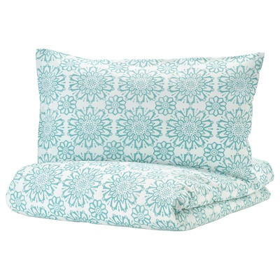 """ÄNGSSALVIA duvet cover and pillowcase(s) white/turquoise 104 /inch² 2 pack 86 """" 86 """" 20 """" 30 """""""