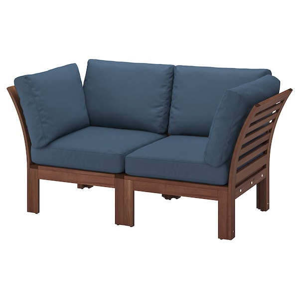 ÄPPLARÖ 2-seat modular sofa, outdoor, brown stained/Frösön/Duvholmen blue, 63x31 1/2x33 1/8 ""