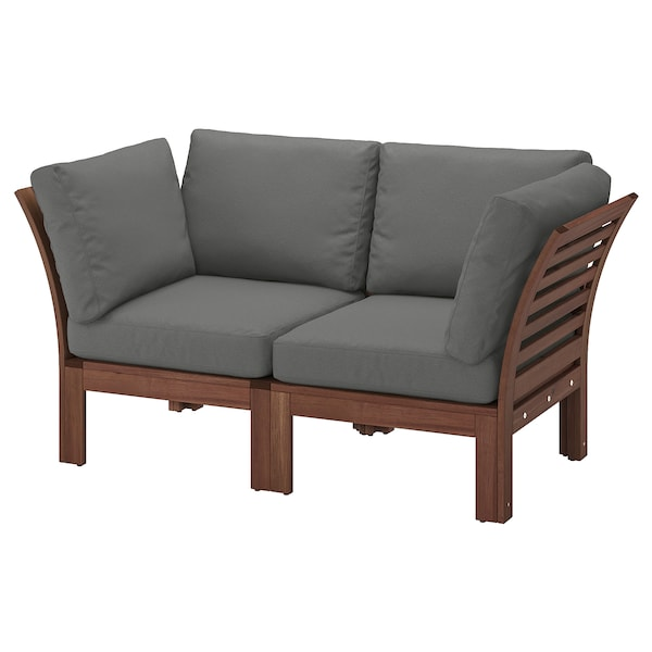ÄPPLARÖ 2-seat modular sofa, outdoor, brown stained/Frösön/Duvholmen dark gray, 63x31 1/2x33 1/8 ""