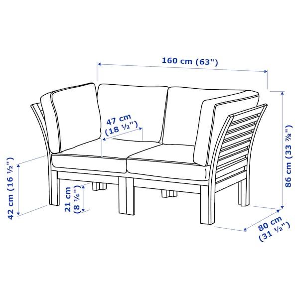 """ÄPPLARÖ 2-seat modular sofa, outdoor, brown stained/Järpön/Duvholmen anthracite, 63x31 1/2x33 7/8 """""""