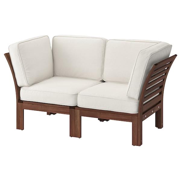 """ÄPPLARÖ 2-seat modular sofa, outdoor, brown stained/Järpön/Duvholmen white, 63x31 1/2x33 7/8 """""""