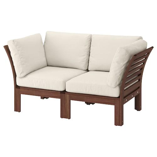 "ÄPPLARÖ 2-seat modular sofa, outdoor brown stained/Frösön/Duvholmen beige 63 "" 31 1/2 "" 33 1/8 "" 19 1/4 "" 15 3/4 """