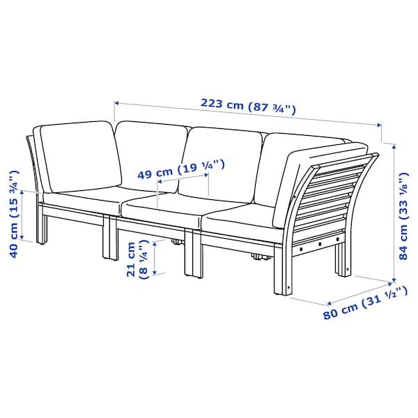 "ÄPPLARÖ 3-seat modular sofa, outdoor brown stained/Frösön/Duvholmen red 87 3/4 "" 31 1/2 "" 33 1/8 "" 19 1/4 "" 15 3/4 """