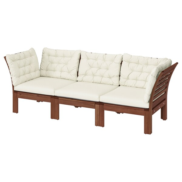 "ÄPPLARÖ 3-seat modular sofa, outdoor brown stained/Kuddarna beige 87 3/4 "" 31 1/2 "" 31 1/2 "" 22 1/2 "" 14 1/8 """