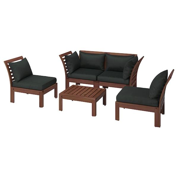 4 Seat Conversation Set Outdoor ÄpplarÖ Brown Stained Black Hållö