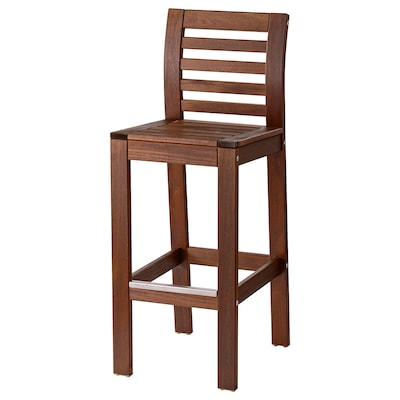 "ÄPPLARÖ bar stool with backrest, outdoor brown stained 243 lb 15 3/4 "" 19 1/4 "" 42 1/8 "" 15 3/4 "" 15 3/4 "" 29 1/8 """